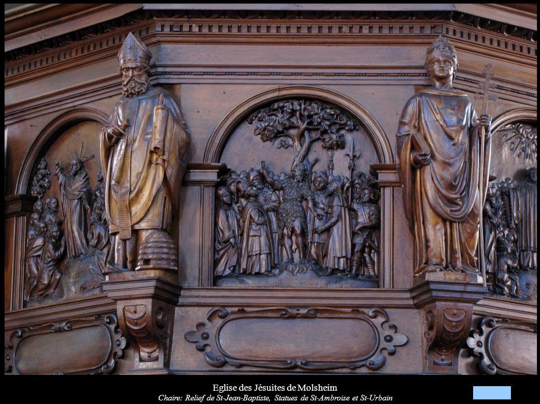 Eglise des Jésuites de Molsheim Chaire: Relief « Sermon sur la montagne », Statues de St-Augustin et St-Ambroise