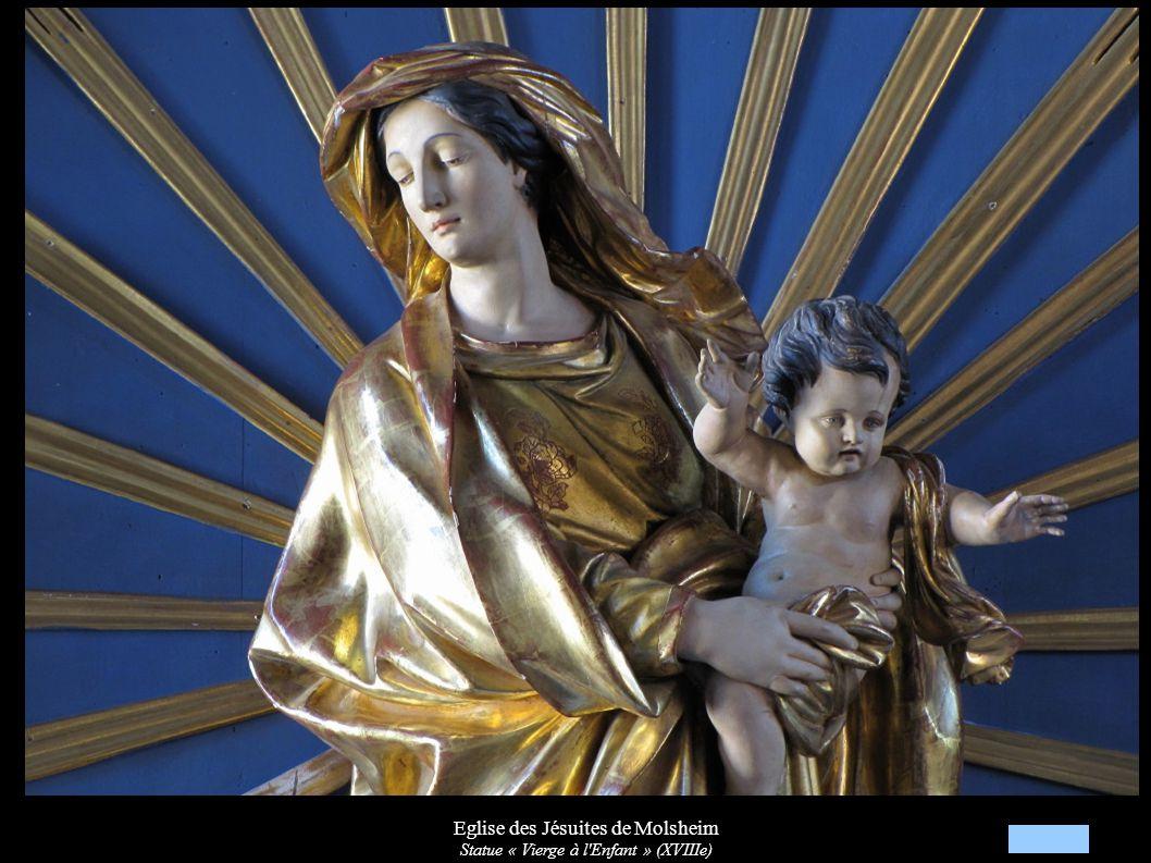 Eglise des Jésuites de Molsheim Autel secondaire « Vierge à l Enfant » XVIIIe Devant d autel Arrivée de la Croix à Niedermünster