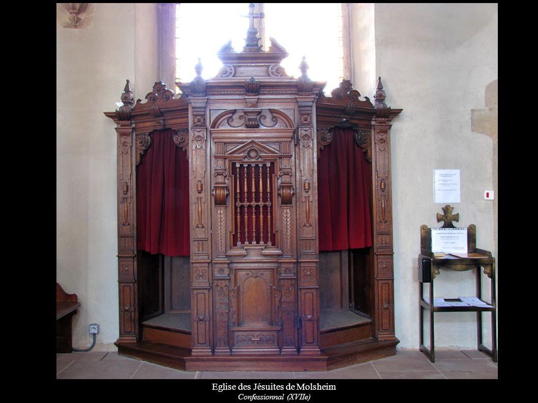 Eglise des Jésuites de Molsheim Porte d entrée latérale, détails des bas de colonnes et bénitier