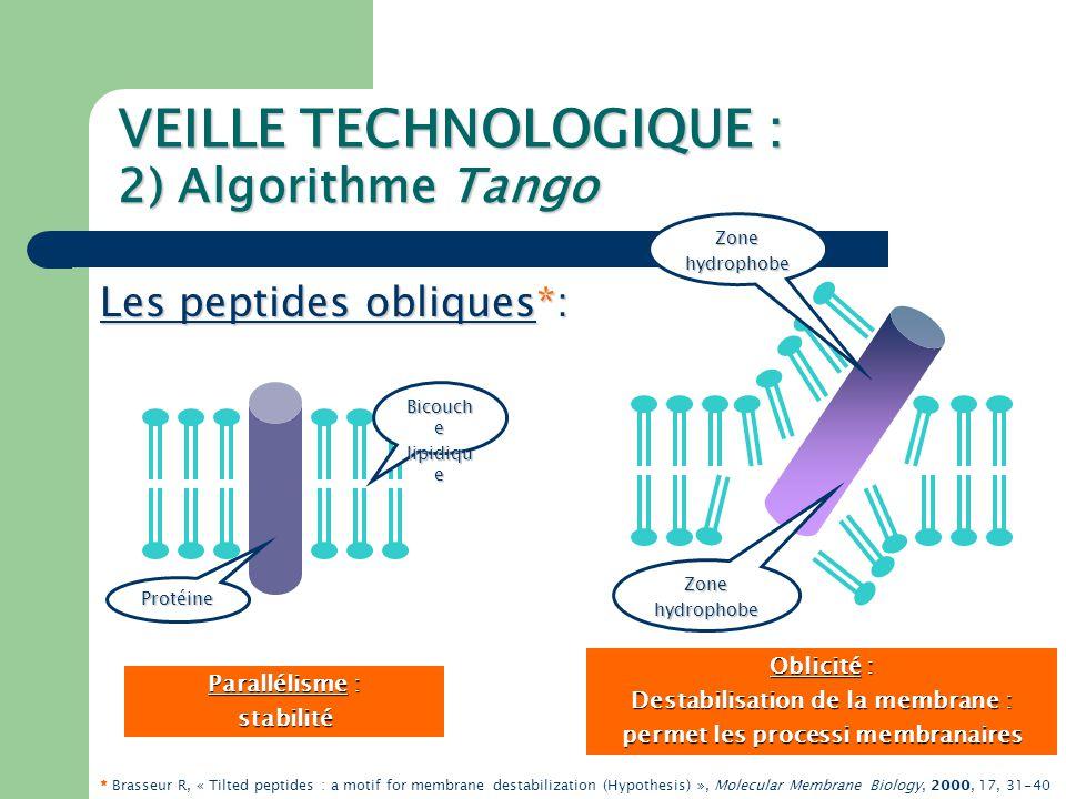 VEILLE TECHNOLOGIQUE : 2) Algorithme Tango Détection automatique des PO (Z-Prot) : séquenceFASTA peptides de 11 à 18 résidus structurés en hélice α analyseHCA Hydrophobie moyenne positive Rapport pho/phi>0.4 pho/phi>0.4 minimisation de l'énergie,modélisation Angle oblique entre 30° et 60° calcul de l'interaction par hypermatrice * * * Brasseur & Ruysschaert, 1986