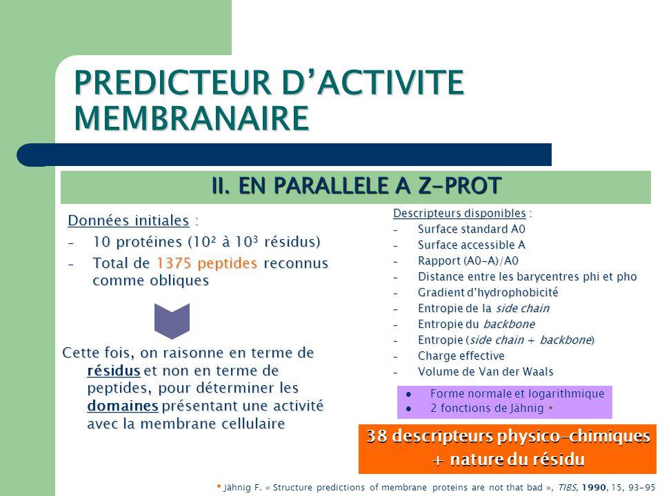 PREDICTEUR D'ACTIVITE MEMBRANAIRE II.