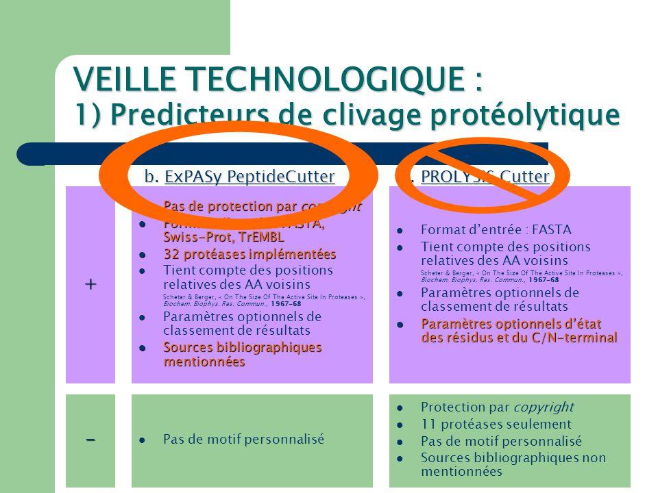 VEILLE TECHNOLOGIQUE : 1) Predicteurs de clivage protéolytique Problèmes rencontrés avec ces algorithmes : - Analyse séquentielle aucune implication des structures secondaire et tertiaire : pas de prise en compte de l'accessibilité des résidus, etc.