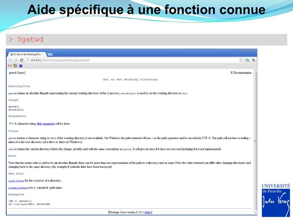 Adresse du répertoire de travail > getwd() [1] C:/R/R-3.0.0/bin/x64 1.