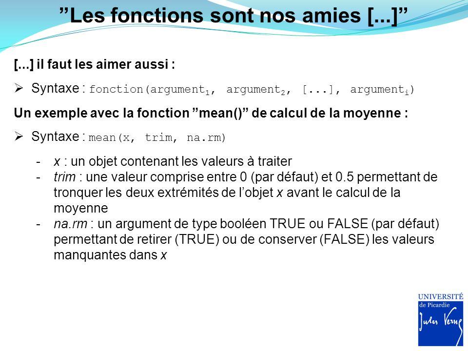Laisser moi vous présenter [...] [...] mes bébêtes préférées :  apply()  cor()  head()  length()  match()  mean()  read.table()  rnorm()  sample()  sum()  str()  table()  var()  which()  write.table()  [...]