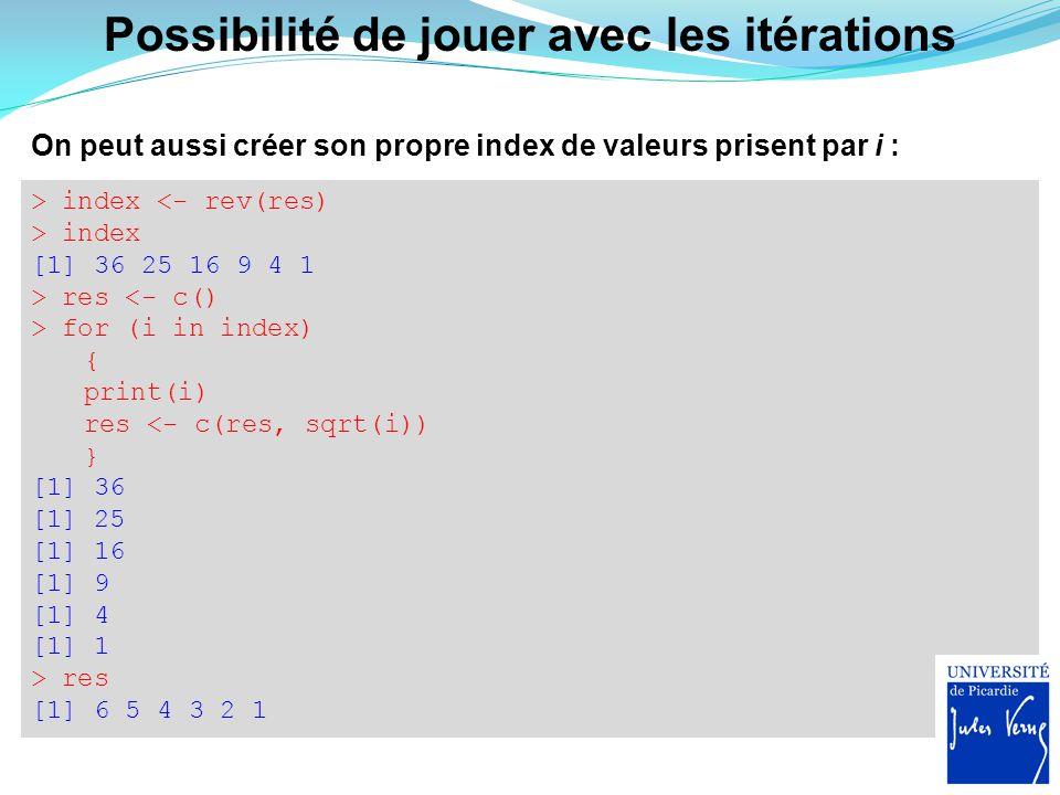 Condition if, la décision Trés utile pour exécuter ou non une ou plusieurs tâches si une condition est observée : > seuil <- 0 > x <- 2 > if (x>seuil) } print(x^2+2*x+1) } [1] 9 > x <- -x > if (x>seuil) { print(x^2+2*x+1) } >