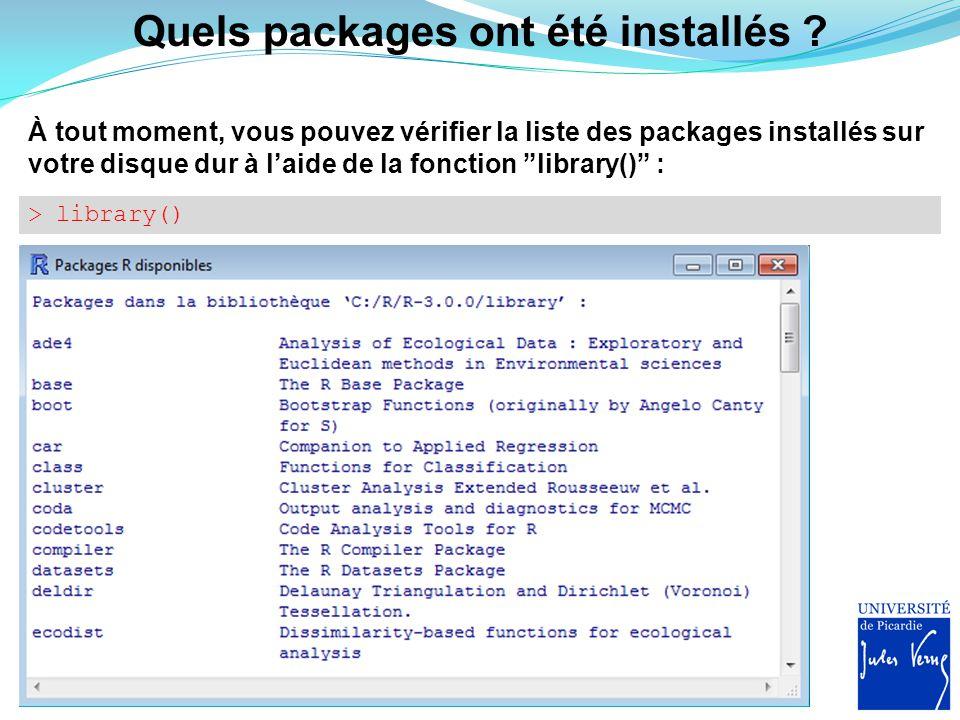 Chargement du package Enfin, pour utiliser le package dans R, il faut charger ce dernier à l'aide de la fonction library() ou bien de la fonction require() : > library( raster ) > ?raster http://cran.r-project.org/web/packages/raster/raster.pdf