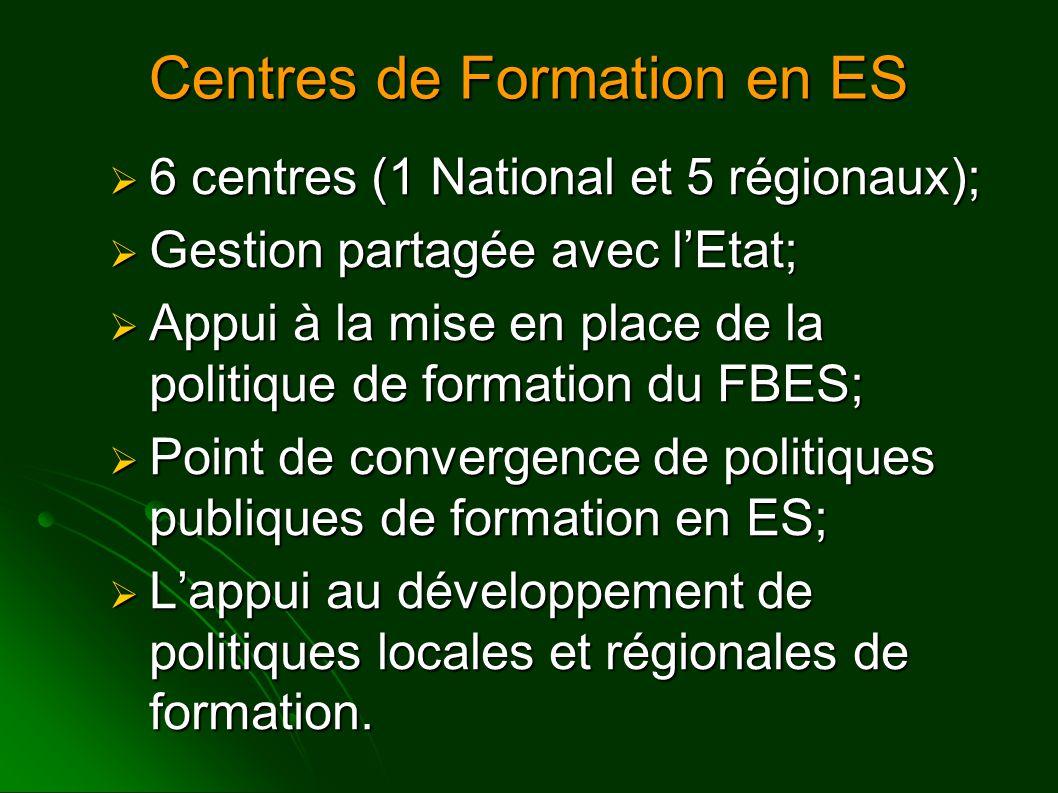 Objectifs Principales  Coordonner et exécuter des actions de formation de formateurs de l'ES (Appui à la consolidation du Réseau);  Appui et articulation d'actions de formation décentralisées et complémentaires;  Contribution à la systématisation de méthodologies et contenus de la formation en ES;  Production et dissémination de matériels pédagogiques;  Développement de recherches;  Subside au FBES et au Comité Thématique de Formation et Assistance Technique du Conseil National de l'ES dans la formulation d'une politique Publique Nationale de Formation en ES