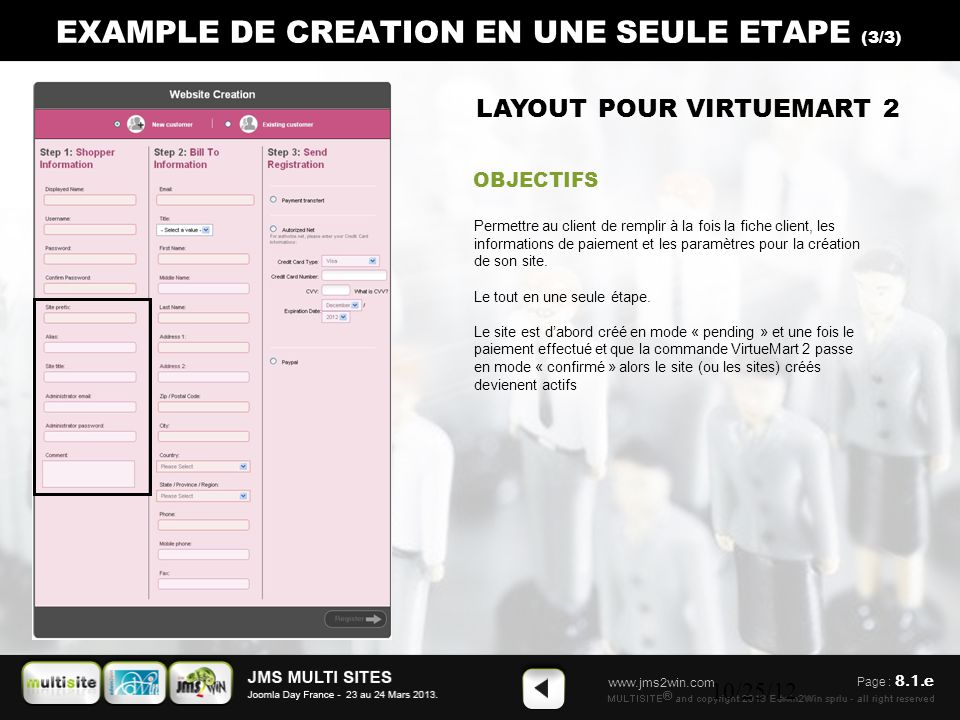 www.jms2win.com 10/25/12 CREATION SIMPLE DE SITES from the back-end and using the default Jms Multisites rules.