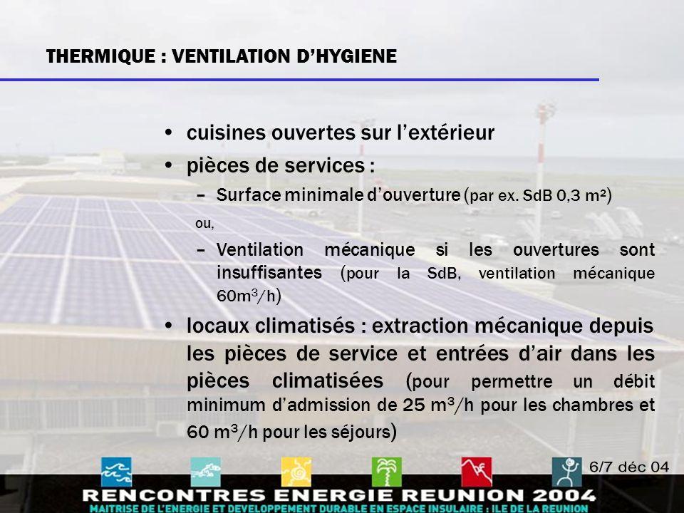 Eau chaude sanitaire (ECS) –Des installations de production et de distribution d'ECS (cuisine et SdB) sont obligatoires, –avec recours aux énergies renouvelables ou par des modes de production économes en énergie (par ex.