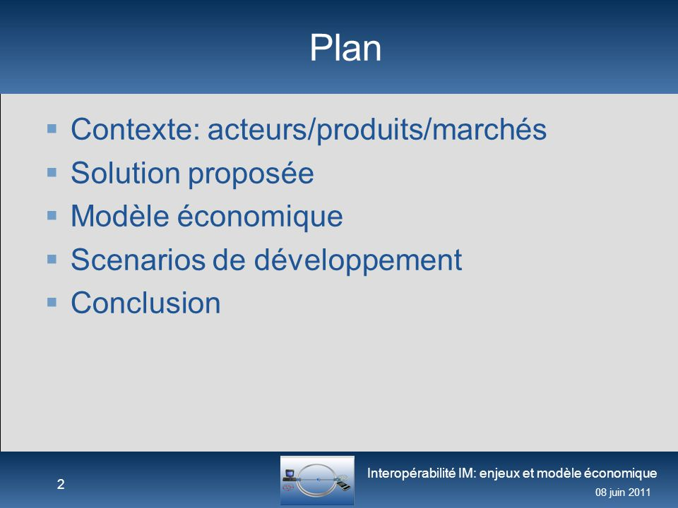 Interopérabilité IM: enjeux et modèle économique 08 juin 2011 Contexte: acteurs/produits/marchés  Fournisseurs: Solution grand public AOL, Google, Microsoft, Skype, Tencent, Yahoo.