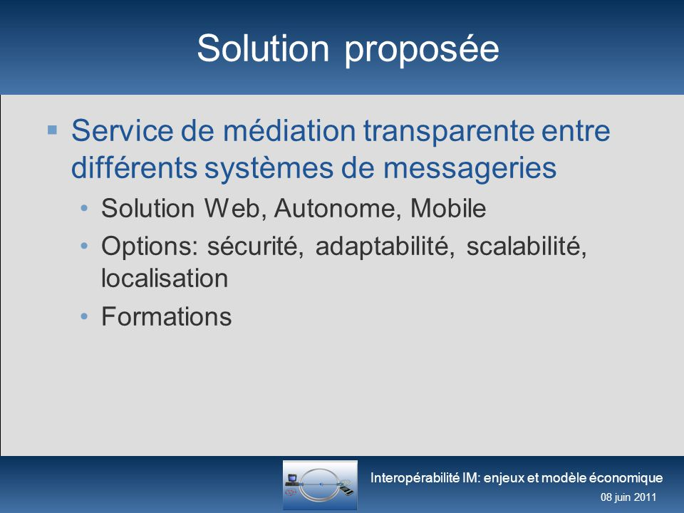 Interopérabilité IM: enjeux et modèle économique 08 juin 2011 Business Model (1)  Service de médiation gratuit pour le grand public, payant pour les entreprises