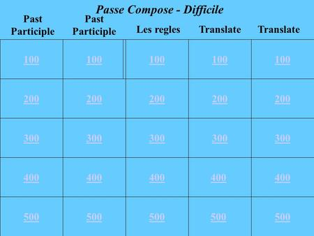 100 200 300 400 500 100 200 300 400 500 100 Translate Past Participle Les regles Passe Compose - Difficile 400 500.