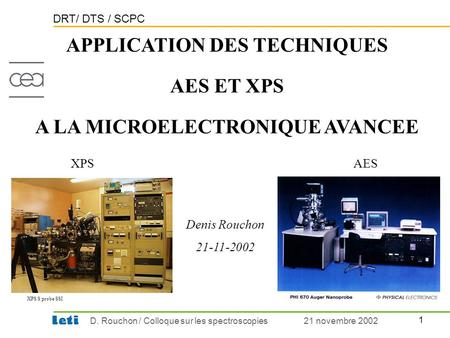 APPLICATION DES TECHNIQUES A LA MICROELECTRONIQUE AVANCEE