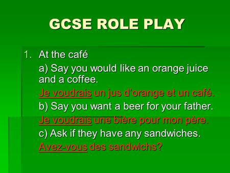 GCSE ROLE PLAY 1.At the café a) Say you would like an orange juice and a coffee. Je voudrais un jus d'orange et un café. b) Say you want a beer for your.