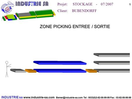 INDUSTRIE sa  Tel : 0033(0)3-82-56-99-99 Fax : 03-82-56-98-98 Projet: STOCKAGE - 07/2007 Client: BUBENDORFF.