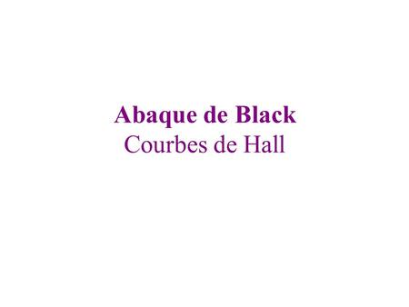 Abaque de Black Courbes de Hall. E E' D D' D.