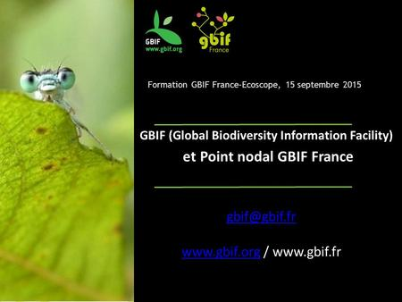 Formation GBIF France-Ecoscope, 15 septembre 2015 GBIF (Global Biodiversity Information Facility) et Point nodal GBIF France