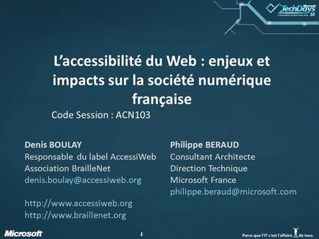 Code Session : ACN103 Denis BOULAY Responsable du label AccessiWeb