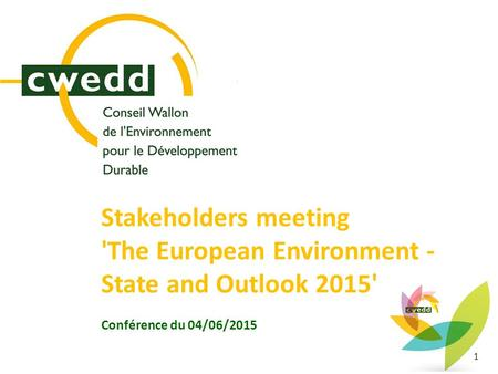 1 1 Stakeholders meeting 'The European Environment - State and Outlook 2015' Conférence du 04/06/2015.