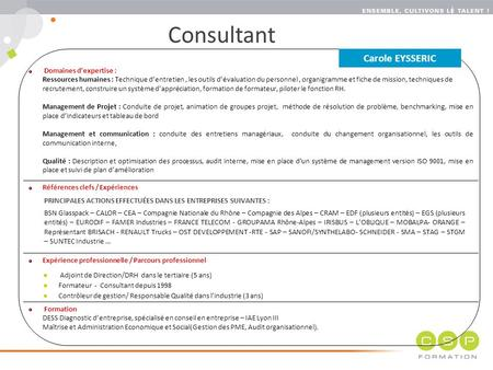 Consultant Carole EYSSERIC Domaines d'expertise :