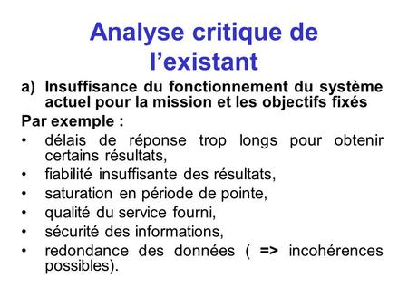 Analyse critique de l'existant