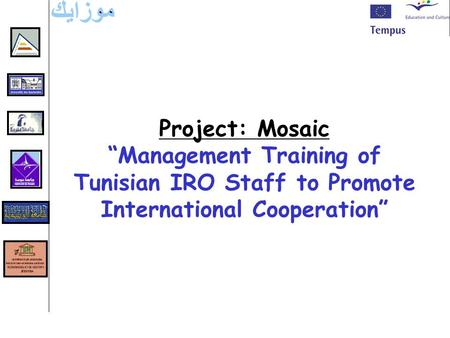 "Project: Mosaic ""Management Training of Tunisian IRO Staff to Promote International Cooperation"""
