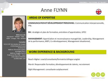 Anne FLYNN AREAS OF EXPERTISE WORK EXPERIENCE & BACKGROUNG