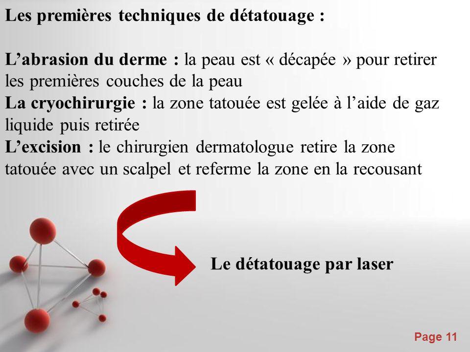Powerpoint Templates Page 12 l'utilisation des lasers est devenue un standard dans le traitement du détatouage car elle évite les effusions de sang et minimise les effets secondaires.