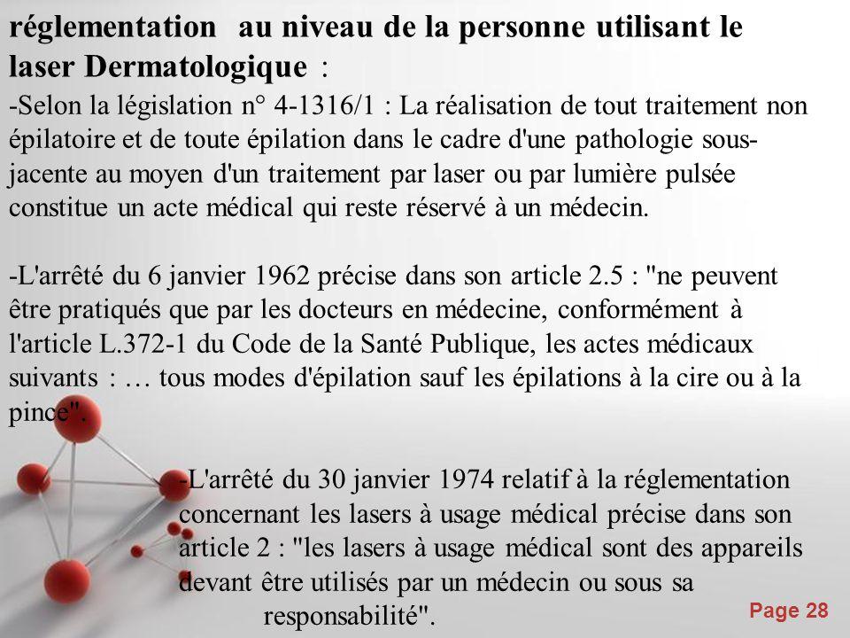 Powerpoint Templates Page 29 réglementation pour les outils utilisés : -L arrêté du 30 janvier 1974 relatif à la réglementation concernant les lasers à usage médical précise dans son article 2 : Les lasers à usage médical sont des appareils devant être utilisés par un médecin ou sous sa responsabilité .