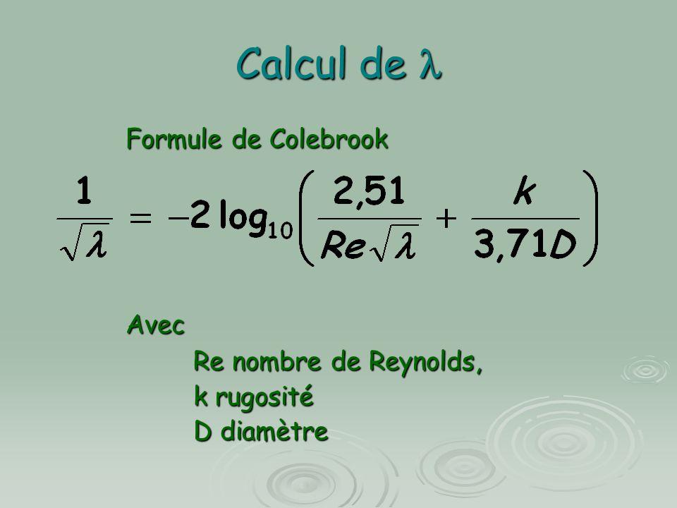 Calcul de Calcul de Function La(Q, D, k) Pi = 3.14159265358979 Nu = 0.00000101 Q = Q / 1000 D = D / 1000 Re = 4 * Q / Pi / D / Nu M = 2 / Log(10) N = 2.51 / Re p = k / 3.71 / D / 1000 X0 = 7 dX = 0.000001 u_F = X0 + M * Log(N * X0 + p) dF = 1 + M * N / (N * X0 + p) Xr = X0 - u_F / dF While Abs(Xr - X0) > dX X0 = Xr u_F = X0 + M * Log(N * X0 + p) dF = 1 + M * N / (N * X0 + p) Xr = X0 - u_F / dF Wend If Re < 2320 Then La = 64 / Re Else La = 1 / Xr / Xr End Function Exemple de module visual basic permettant de calculer connaissant le débit Q en l/s, le diamètre D en mm et la rugosité k en mm