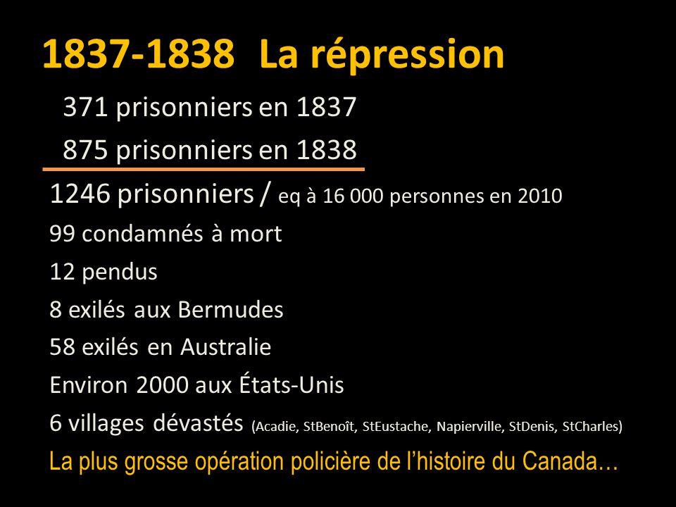 5 déc 1837 – Loi martiale dans le district de Montréal 10 fév 1838 – Suspension de la constitution du Bas-Canada et nomination de Lord Durham 27 mars 1838 – Abolition de l'Acte constitutionnel au Bas-Canada et création d'un Conseil spécial 4 nov 1838 – Nouvelle proclamation de la loi martiale.