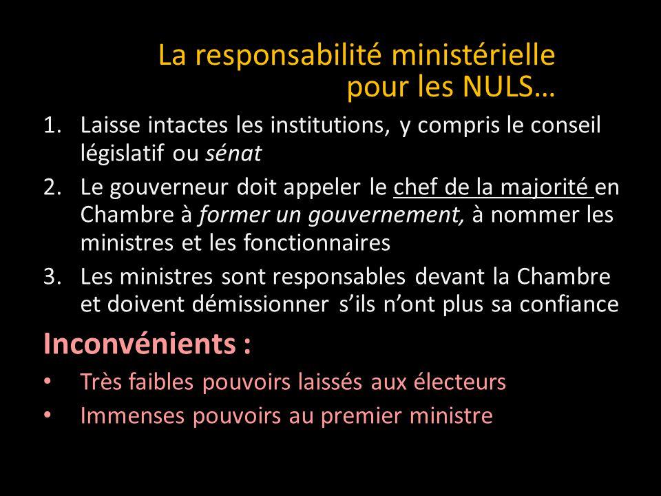 1.Oubliez le rêve d'un État français 2.Allions-nous aux réformistes de l'Ontario 3.Désignons nos ministres responsables devant la Chambre 4.Accèderons au gouvernement et assurons notre survie nationale .