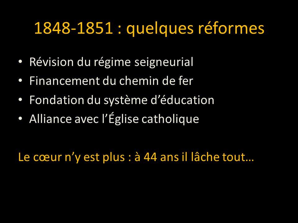 OntarioQuébec RéformistesToriesTories Réformistes (Baldwin)(McNab)(Moffat) (LaFontaine) GritsConservateurs BleusRouges (Brown)(Macdonald)(Cartier)(Dorion) Libéral Conservateurs Grande Coalition 1864