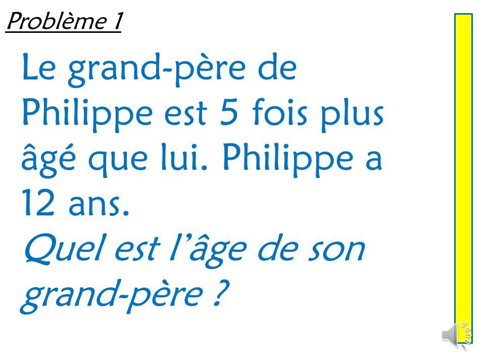 Problème 1 Le grand-père de Philippe est 5 fois plus âgé que lui.