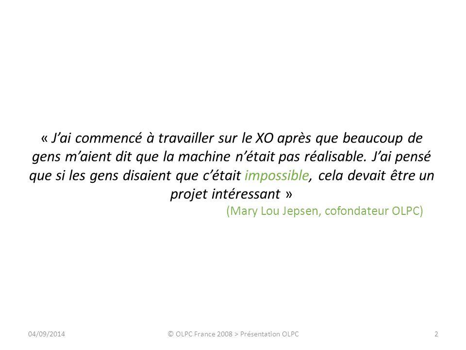 Agenda Philosophie Machine Contenu Expérience Propositions 304/09/2014© OLPC France 2008 > Présentation OLPC