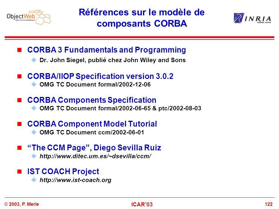 123© 2003, P.Merle ICAR'03 Pas d'intergiciel universel pour composants .