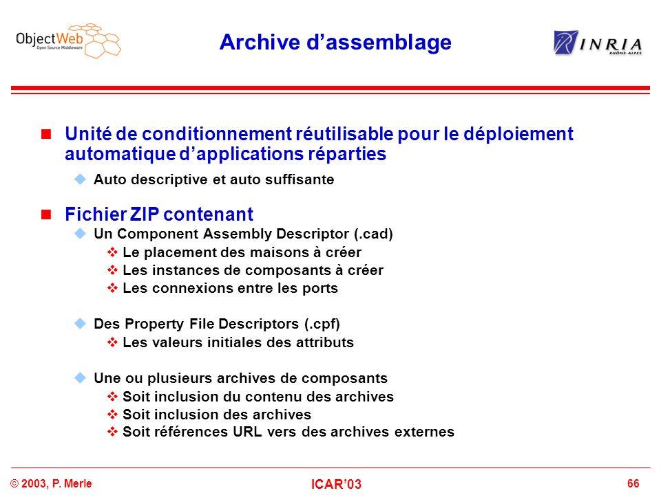 67© 2003, P. Merle ICAR'03 Artefacts d'assemblage des composants