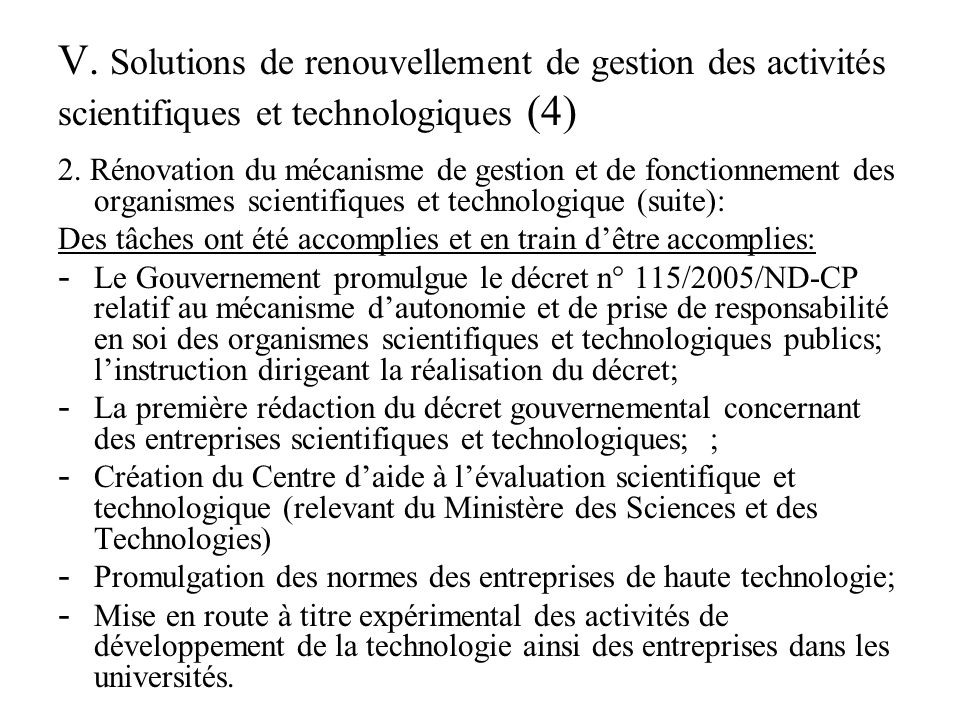 V.Solutions de renouvellement de gestion des activités scientifiques et technologiques (5) 3.