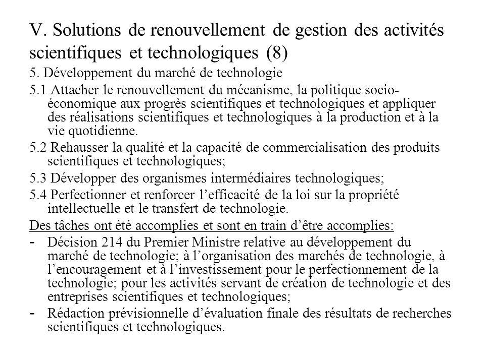 V.Solutions de renouvellement de gestion des activités scientifiques et technologiques (9) 6.