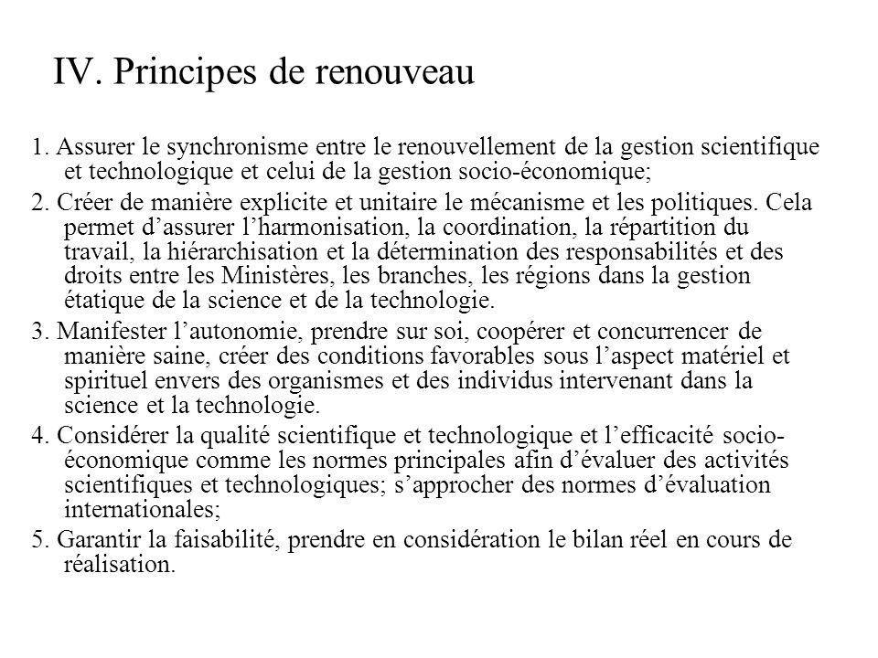 V.Solutions de renouvellement de gestion des activités scientifiques et technologiques (1) 1.