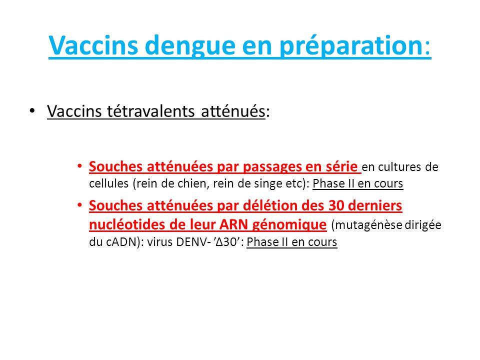 Vaccins dengue – Problèmes avec les souches atténuées : Difficulté de trouver le point d'équilibre correct entre insuffisance d'atténuation (effets secondaires chez l'enfant notamment) et atténuation excessive (manque d'immunogénicité) Phénomènes d'interférence entre les 4 souches: une souche immunogène à l'état de vaccin monovalent n'est plus suffisamment immunogène quand elle est mélangée aux trois autres!