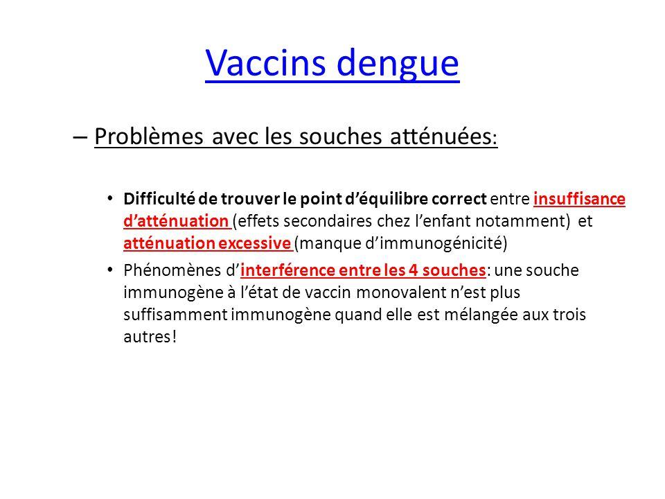 Vaccins Chimerivax Echange des gènes d'enveloppe (E-M) d'un flavivirus donné avec ceux de la souche atténuée 17D du virus de la fièvre jaune (YFV)→ obtention d'un virus chimère atténué capable d'induire des anticorps neutralisant le flavivirus considéré (T Monath): Ex: Dengue-17D: vaccin en fin de phase III (Pbs avec le sérotype DE2) Encéphalite japonaise-17D: vaccin commercialisé en Asie West Nile-17D: vaccin en phase II