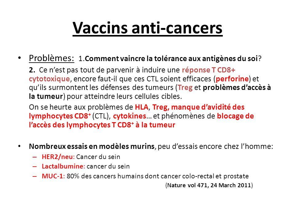 Vaccins anti-cancers ▪ Cancers d'origine virale : - Foie: HCV, HBV – Col utérin: HPV 16 et 18 (et autres sous-types) : Essai de vaccin MVA-E6+E7 anti HPV: Phase III – Cancers ano-génitaux: HPV 6 et 11 – Sarcome de Kaposi: HHV-8 – Cancer du naso-pharynx: EBV ▪ Mélanome, prostate, poumon, etc : Même stratégie que pour les infections persistantes (induction de CTL).