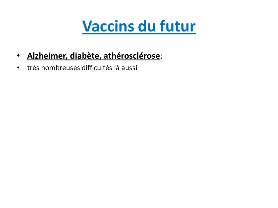 Vaccins du futur: vaccins anti- addictions Vaccin cocaïne: analogue de cocaïne couplé chimiquement à la choléra toxine (T Kosten, Baylor, Houston, TX) ou à des VLP de rhinovirus (R Crystal, Cornell, NY): Phase II Vaccin methamphetamines et morphine: résultats prometteurs chez la souris (T Kosten, Baylor, Houston, TX) et le rat Vaccin héroïne à base d'analogues de la molécule: même stade de développement (K Janda, Scripps Res Institute, La Jolla, CA) Vaccin nicotine ('NicVax'): analogue de nicotine couplé à une protéine de surface de Pseudomonas aeruginosa (R Fahim, Nabi Biopharma, MD): phase III en cours.