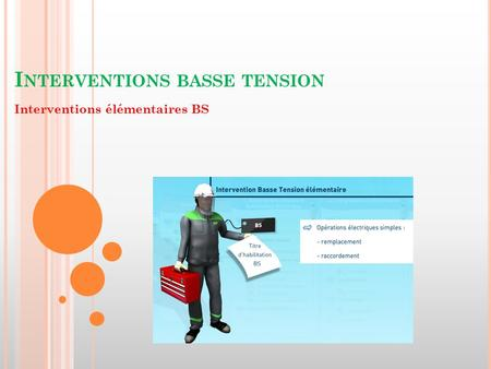 I NTERVENTIONS BASSE TENSION Interventions élémentaires BS.