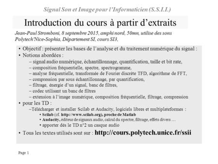 Introduction du cours à partir d'extraits
