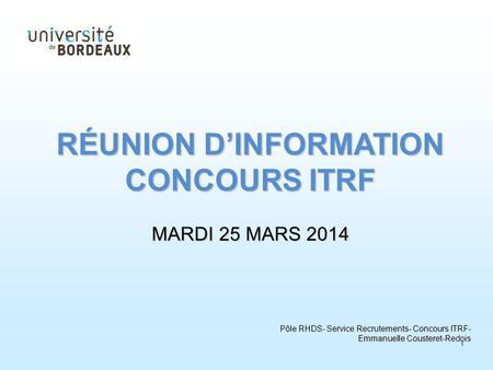 Liste concours itrf catégorie a
