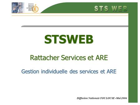Diffusion Nationale TOULOUSE -Mai 2006 STSWEB Rattacher Services et ARE Gestion individuelle des services et ARE.
