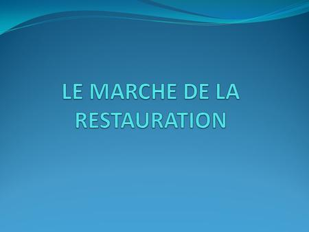 MARCHE DE LA RHF RESTAURATION HORS FOYER RESTAURATION AU FOYER 80% RESTAURATION AU FOYER 80% RESTAURATION HORS FOYER 20 % RESTAURATION HORS FOYER 20 %