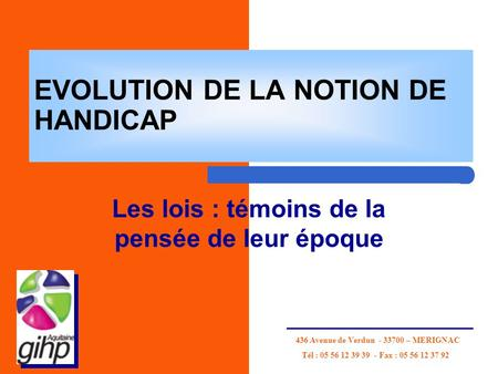 EVOLUTION DE LA NOTION DE HANDICAP